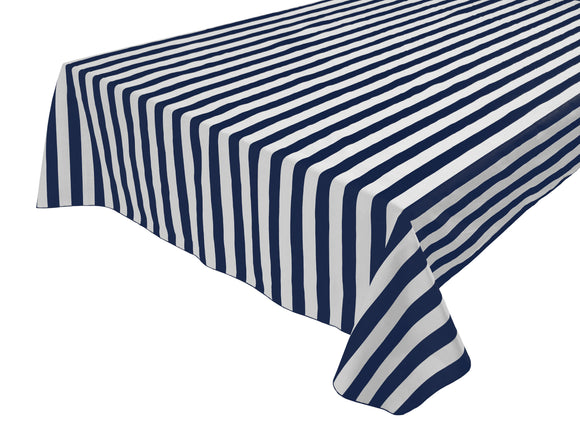 Cotton Stripe Tablecloth 1 Inch Navy