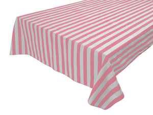 Cotton Stripe Tablecloth 1 Inch Pink