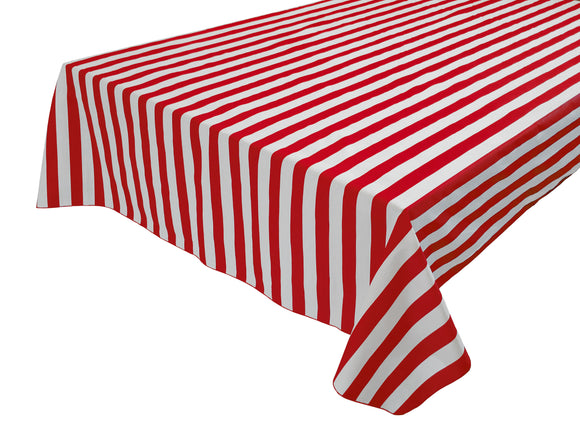 Cotton Stripe Tablecloth 1 Inch Red