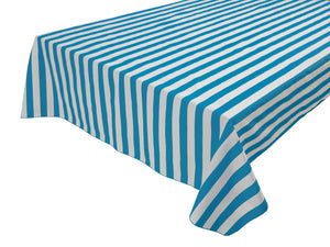 Cotton Stripe Tablecloth 1 Inch Turquoise