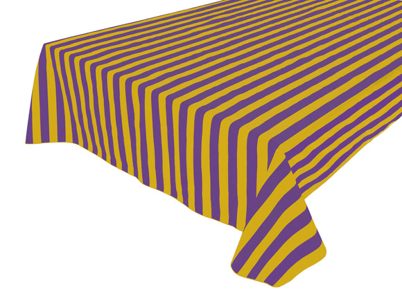 Cotton Stripe Tablecloth 1 Inch Yellow and Purple
