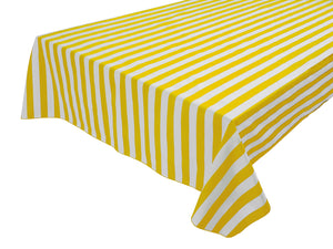 Cotton Stripe Tablecloth 1 Inch Yellow