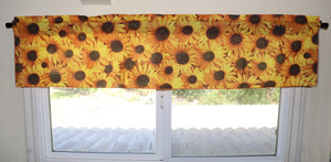 "Cotton Sun-flowers Allover Print Window Valance 58"" Wide"