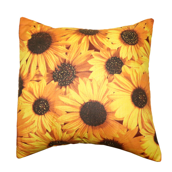 Cotton Sunflowers Print Decorative Throw Pillow/Sham Cushion Cover