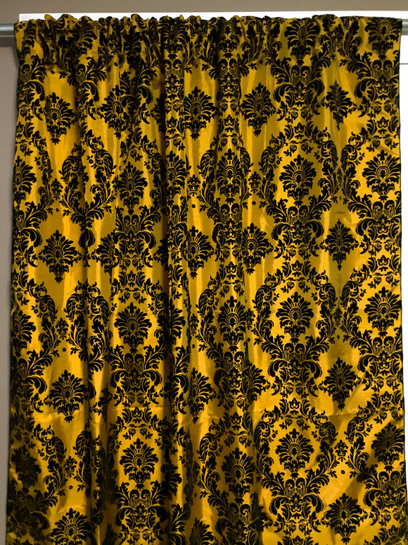 Flocking Damask Taffeta Window Curtain 56 Inch Wide Yellow