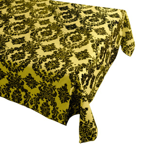 Flocking Damask Taffeta Tablecloth Sunshine Yellow