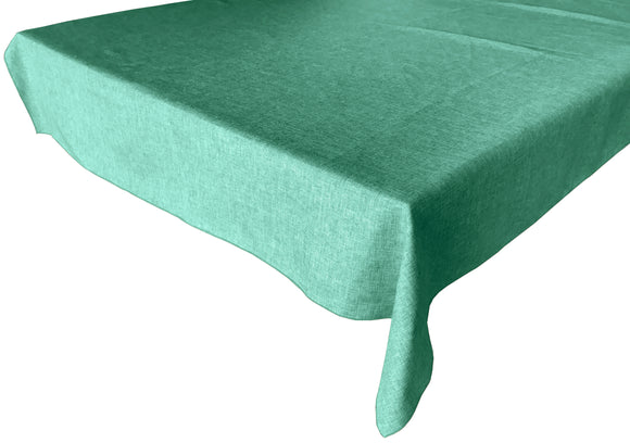 Faux Burlap Solid Tablecloth Aqua