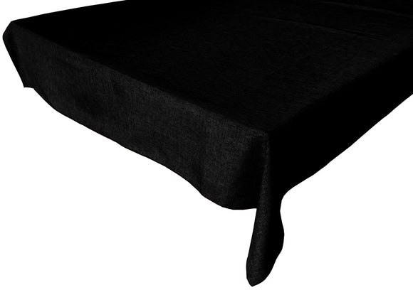 Faux Burlap Solid Tablecloth Black
