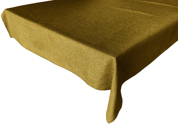 Faux Burlap Solid Tablecloth Dark Gold