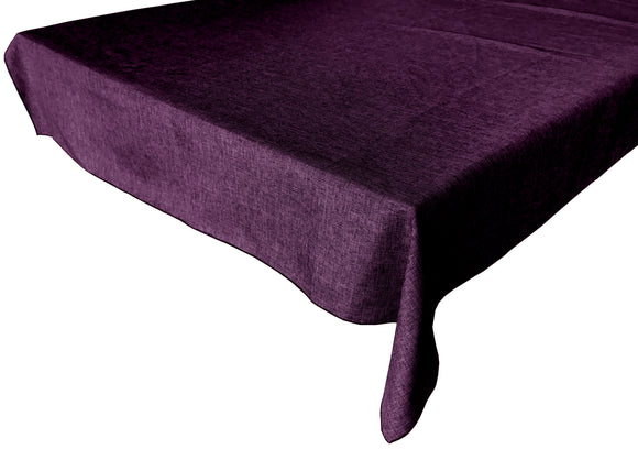 Faux Burlap Solid Tablecloth Eggplant