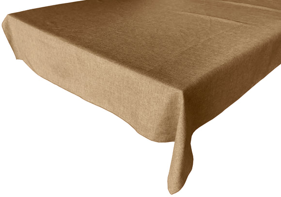 Faux Burlap Solid Tablecloth Light Gold