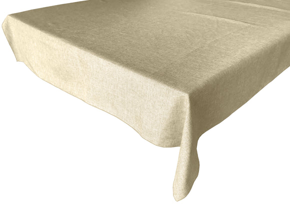 Faux Burlap Solid Tablecloth Ivory