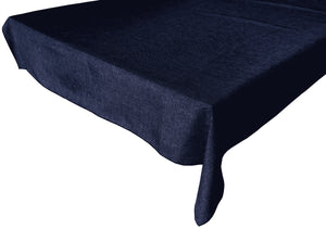Faux Burlap Solid Tablecloth Navy