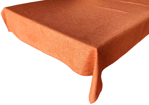 Faux Burlap Solid Tablecloth Orange