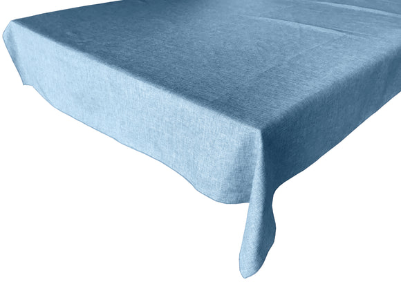 Faux Burlap Solid Tablecloth Slate Blue