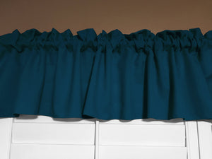 "Solid Poplin Window Valance 58"" Wide Teal"