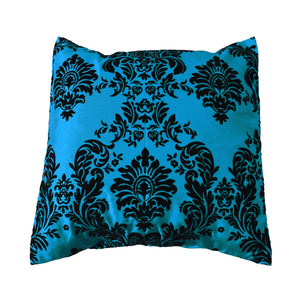 Flocked Damask Decorative Throw Pillow/Sham Cushion Cover Black on Teal