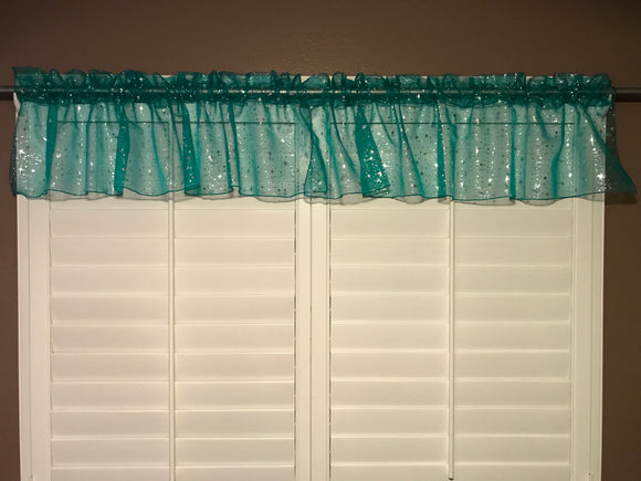 Silver Stars on Sheer Organza Tinted Window Valance 58