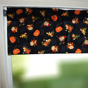"100% Cotton Window Valance 42"" Wide Thanksgiving Autumn Seasonal Pumpkins Owls and Turkey"