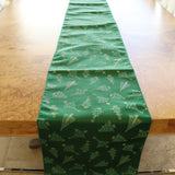 Brocade Table Runner Christmas Holiday Collection Glittery Trees Green