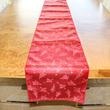Brocade Table Runner Christmas Holiday Collection Glittery Trees Red