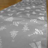 Brocade Table Runner Christmas Holiday Collection Glittery Trees Silver