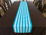Cotton Print Table Runner 1 Inch Wide Stripes Turquoise