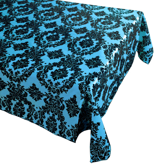 Flocking Damask Taffeta Tablecloth Turquoise