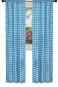 Poplin Gingham Checkered Window Curtain 56 Inch Wide Turquoise