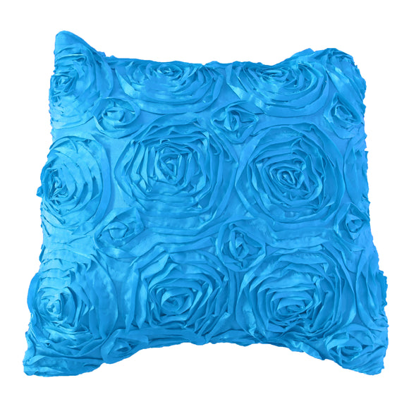 Satin Rosette Decorative Throw Pillow/Sham Cushion Cover Turquoise