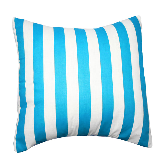 Cotton 1 Inch Stripe Decorative Throw Pillow/Sham Cushion Cover Turquoise and White