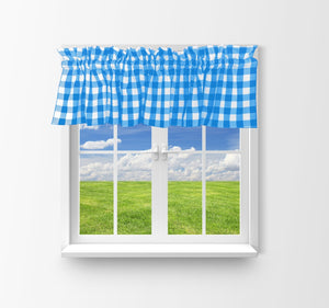 "Cotton Gingham Checkered Window Valance 58"" Wide Turquoise"