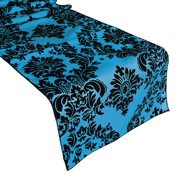 Flocked Damask Table Runner Turquoise