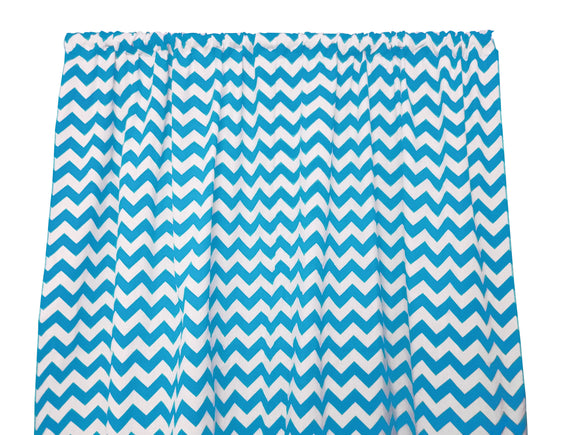 Cotton Zig-zag Chevron Window Curtain 58 Inch Wide Turquoise