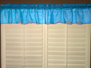 "Sheer Organza Window Valance 58"" Wide Solid Turquoise"