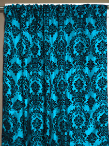Flocking Damask Taffeta Window Curtain 56 Inch Wide Turquoise