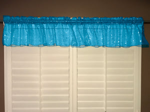 "Silver Stars on Sheer Organza Tinted Window Valance 58"" Wide Turquoise"