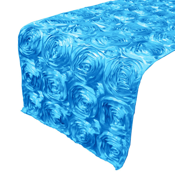 Satin Rosette Table Runner Raised Roses Turquoise