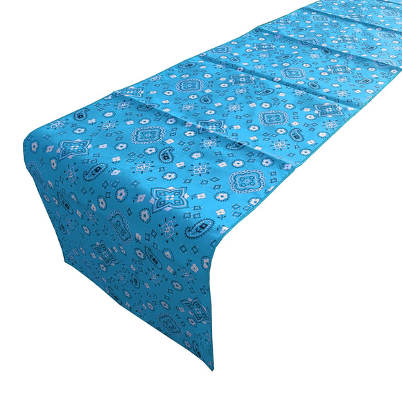 Cotton Print Table Runner Paisley Bandanna Turquoise