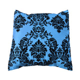 Flocked Damask Decorative Throw Pillow/Sham Cushion Cover Black on Turquoise
