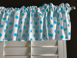"Cotton Polka Dots Window Valance 58"" Wide Turquoise on White"