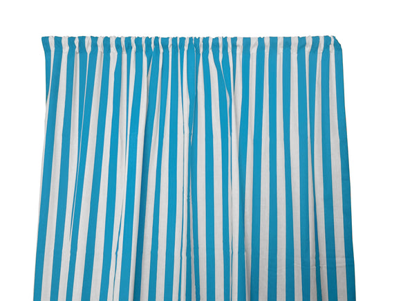 Cotton Stripe Window Curtain 58 Inch Wide 1 Inch Stripe Turquoise and White