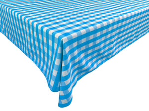 Poplin Gingham Checkered Plaid Tablecloth Turquoise