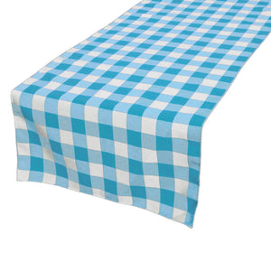 Cotton Print Table Runner Gingham Checkered Turquoise