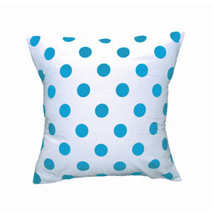 Cotton Polka Dots Decorative Throw Pillow/Sham Cushion Cover Turquoise On White