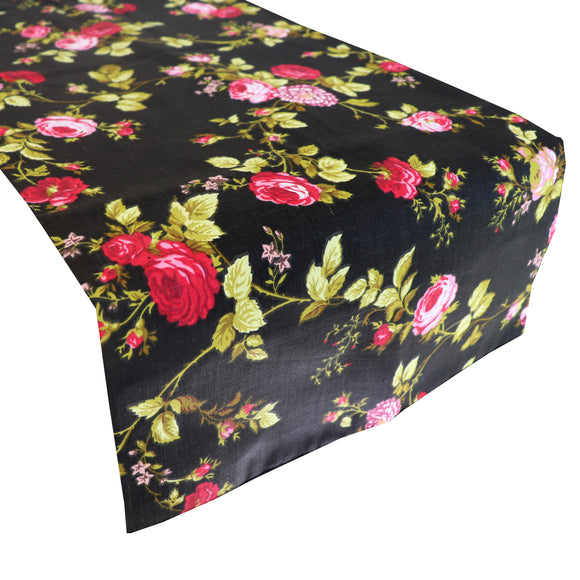Cotton Print Table Runner Floral Vintage Flowers Black