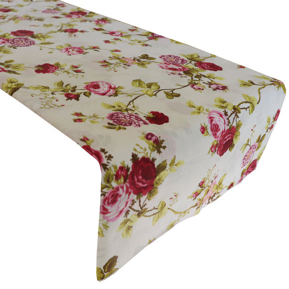 Cotton Print Table Runner Floral Vintage Flowers Red on White
