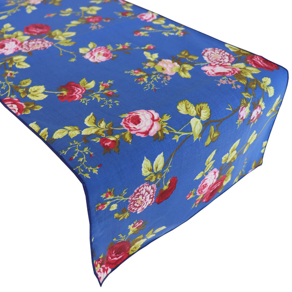 Cotton Print Table Runner Floral Vintage Flowers Royal Blue