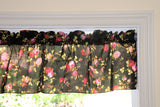 "Cotton Vintage Floral Window Valance 58"" Wide Black"
