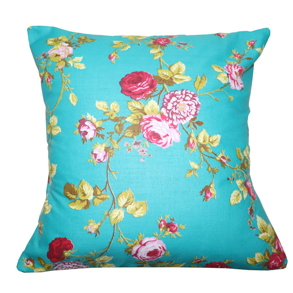 Cotton Vintage Floral Decorative Throw Pillow/Sham Cushion Cover Teal